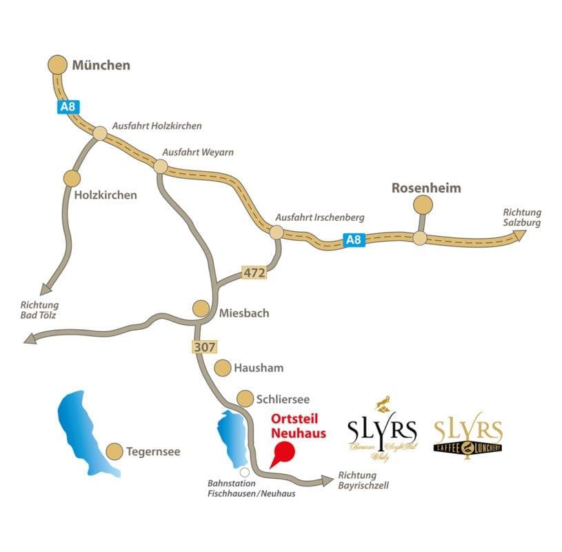 Anfahrt zur SLYRS Destillerie (Schliersee, Bayern)