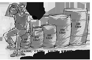 Kolorierte Illustration Fassgroeen SLYRS Destillerie